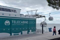 在海岸Tejo -里斯本的空中览绳 免版税库存图片