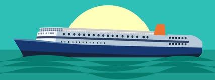 在海或海洋的大游轮日落或日出的 在平的样式的传染媒介例证 免版税库存图片