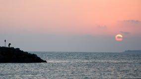 在海旁边的妇女日落的 免版税库存照片