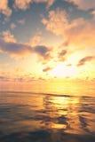 在海景的金黄日落 免版税库存图片