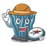 在海水下的探险家蓝色海草动画片 皇族释放例证
