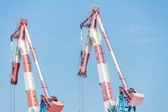 在海法口岸的两台起重机 免版税库存图片
