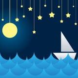 在海波浪、月亮和星的小船 库存照片