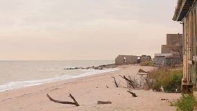 在海洋、被毁坏的房子和干燥分支的被放弃的大厦在海岸线 影视素材