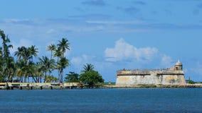 在海洋旁边的堡垒Carrebean的 库存图片