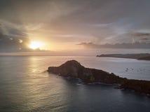 在海洋海景的日落 免版税图库摄影