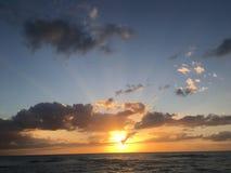 在海洋的佛罗里达日落1 库存照片