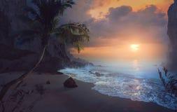 在海洋的平安的日出 库存图片