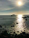 在海洋的日落在北加州 库存照片