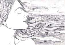 在海洋的背景的妇女的表面 免版税图库摄影