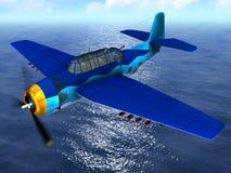 在海洋的飞机 免版税库存照片