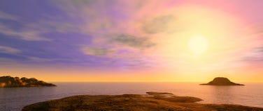 在海洋美丽如画的礁石日落之上 免版税库存图片