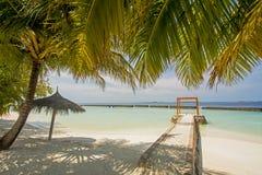 在海洋附近的美丽的热带晴朗的海滩有伞和小屋的 免版税库存照片
