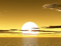 在海洋sunet黄色之上 库存图片