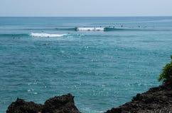 在海浪斑点婴孩Padang的框架波浪Bukit半岛的,巴厘岛,印度尼西亚 库存照片
