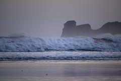 在海浪斑点的强有力的碎波在冬天早晨日出的hendaye,巴斯克国家,法国 图库摄影