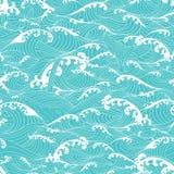 在海浪的鲸鱼游泳,仿造无缝的背景 免版税图库摄影