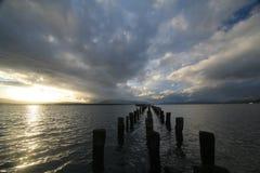 在海海岸线的日落在巴塔哥尼亚/智利 库存照片