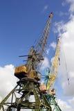 在海港的两台黄色起重机 库存图片