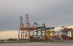 在海港的起重机 库存照片