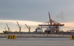 在海港的起重机 库存图片