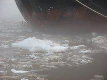在海湾停泊的破冰船 船的鼻子 免版税图库摄影