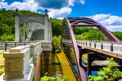 在海湾掠夺水库的桥梁,在巴尔的摩,马里兰 库存照片