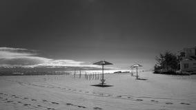 在海湾的伞 库存图片