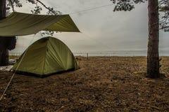 在海湾的含沙岸的帐篷 库存图片