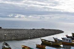 在海湾的小船 库存图片
