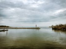 在海湾的幽暗 库存照片