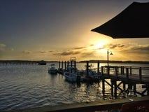 在海湾的日落在希尔顿黑德岛 库存图片