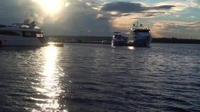 在海湾的游艇 股票录像