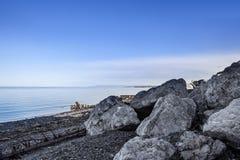 在海湾的美丽的海滩,魁北克加拿大 库存图片