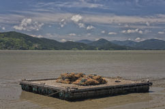 在海湾的驳船与竹子 免版税库存照片