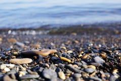 在海滨有不同的形状许多小石头  俄国 库存照片