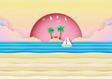 在海滨横幅构思设计的夏天海滩 库存例证