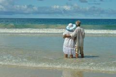在海滨的资深夫妇 库存图片
