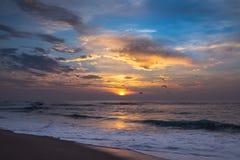 在海滩、美丽的海和五颜六色的天空的日落与海鸥群  免版税库存照片