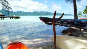在海滩停泊的皮船在法属波利尼西亚 影视素材