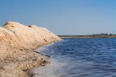 在海滩和明白蓝天的沙丘 库存图片