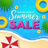 在海滩海报设计的夏天销售 免版税库存照片