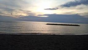 在海滩的临时段落,从春天夏天到秋天 免版税库存照片
