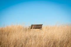 在海滩的偏僻的长凳 免版税库存图片