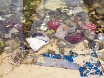 在海滩的全球性垃圾 库存图片