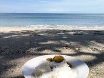 在海滩的午餐 免版税库存照片