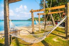 在海滩的吊床 库存图片