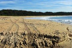 在海滩的四轮驱动的轮胎轨道 库存图片