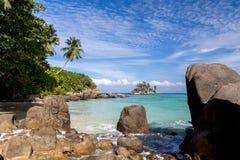在海滩的大石头与很多绿色植物 库存图片