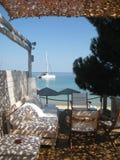 在海滩的太阳树荫 图库摄影